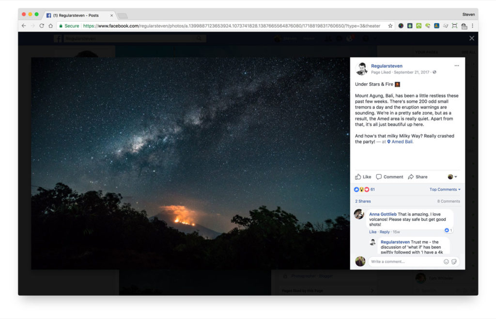 Picture of fullscreen image with comments on Facebook. Facebook UX well considered and gold standard.