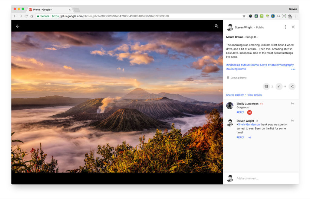 Picture of fullscreen image with comments on Google+