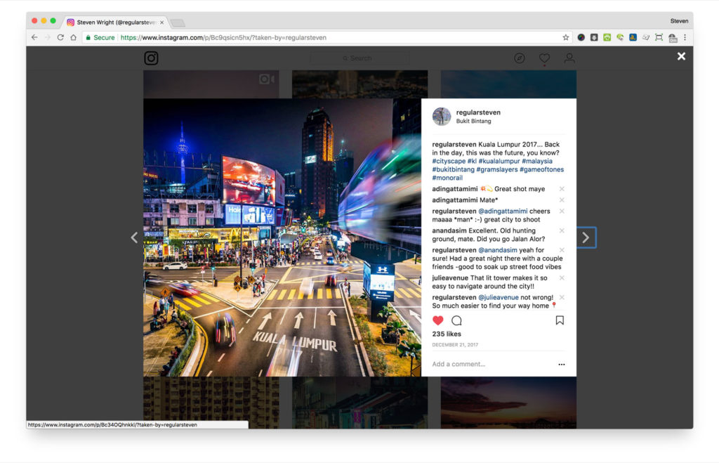 Picture of fullscreen image with comments on Instagram